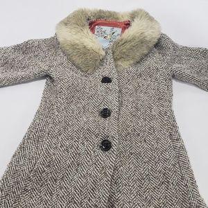 Anthropologie Tabitha Wool Faux Fur Peacoat Jacket